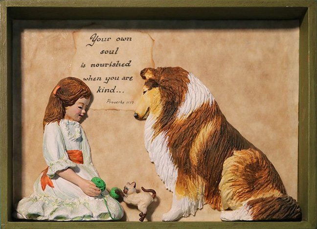Shadow box of a little girl and her collie.