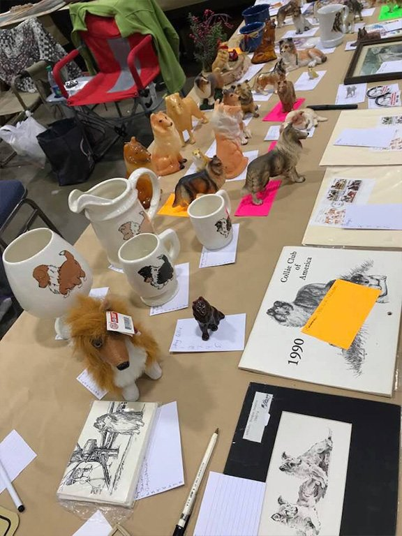 Auction table for CRF at the Collie Club of America national specialty.